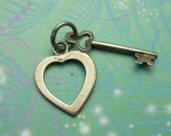 Vintage Sterling Silver Dangle Charm - Heart & Key