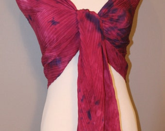"""Hand painted Crepe De Chine silk scarf 22""""x90"""" Digital Red with Blue spots Shibori  pleated"""
