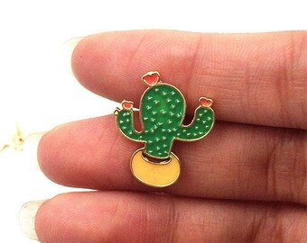 Cactus Pin, Enamel pin, cute little cactus pin, lapel pin, badge, plant lover gift, plant lady gift, cactus lover accessories,