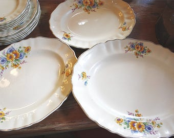 Three Floral China Platters
