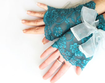 Teal green lace wrist cuff gloves, teal turquoise blue green floral gloves, long ribbon gloves, wristlet glovelet, gothic vampire lolita