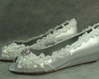 Wedding Wedges Shoes Low heel - Bridal shoes Crystals Lace Satin White or Ivory, peep toe, beautifully embellished with lace
