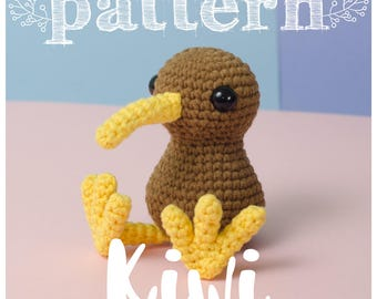 PATTERN Little Kiwi - bird crochet New Zealand amigurumi (pattern in English - Spanish - Français)