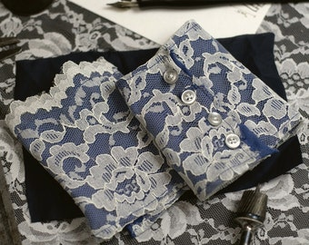 Airship Pirate Cuffs - Blue with White Lace with Buttons- Victorian Steampunk