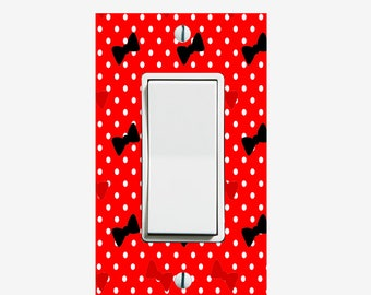 Red and Black Bows light switch cover for girls bedroom decor