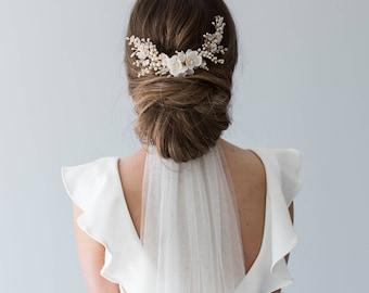 Wedding Headpiece, Bridal Hair Comb, Floral Bridal Headpiece, Beaded Bridal Headpiece, Floral Bridal Comb, Flower Hair Piece - HYACINTH