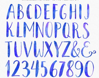 Alphabet Clip Arts - Watercolor Letters and Numbers clipart, Hand Painted watercolor letters - commercial use