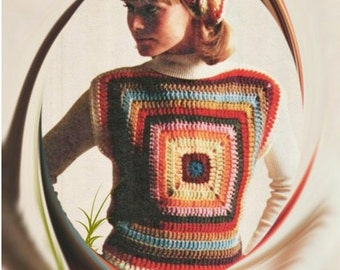 Crochet TOP Pattern Vintage 70s Granny Square Top Pattern Crochet Sweater Pattern Crochet Blouse Pattern