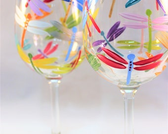 Hand painted wine glasses with multicolor dragonflies, painted dragonfly glasses, colorful wine glasses - set of 2