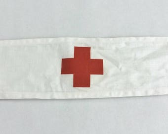 vintage medical red cross armband / wedding hangover / doctor costume nurse costume surgeon costume medical first aid