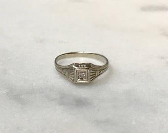 White Gold Art Deco and Diamond Baby / Pinky / Midi Ring