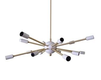 Atomic 16 Arm Sputnik Ceiling Light Brass White UL Listed