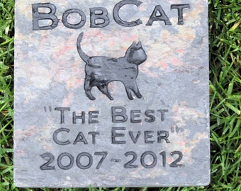 Personalized Cat Memorial Stone Grave Marker, Cat Memorial Headstone Burial Gravestone Marker 6 x 6 Inch