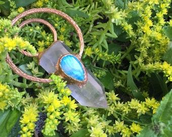 Rose Quartz Necklace, Moonstone Necklace, Statement Necklace, Copper Electroform Necklace, Rose Quartz and Moonstone Necklace, Rose Quartz