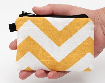 Yellow Coin Purse, Padded Mini Pouch, Chevron Card Wallet, Small Summer Wallet, Bright Mini Wallet - corn yellow and white chevron