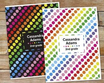 Personalized Polka Dot Folder Set [back to school, folder, school supplies, girl, polka dot, colorful, pocket folder] -gfy11048120