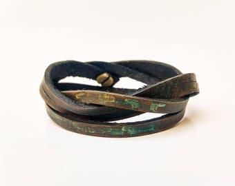 Leather Wrap Bracelet, Men's Bracelet, Men Leather Bracelet, Wrap Bracelet, Leather Cuff, Men Cuff Bracelet, Brown Leather, Cuff with Clasp