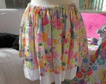 """Knee Length Skirt, 22"""" Long, Upcycled Skirt, Double Layered Skirt, OOAK, Size XL, Elastic Waist Skirt, Floral Skirt, Multicolored Skirt"""