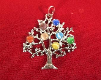 """1pc """"rainbow tree"""" pendant in silver style (BC1386)"""