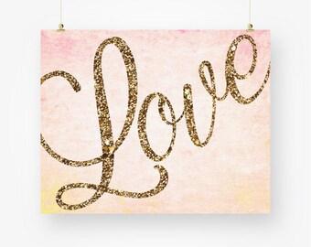 love printable, pink and gold nursery, glitter bedroom wall art, baby girl nursery printable love typography digital, love instant download