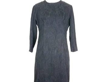 on sale vintage black dress 50s/60s mini sheath raised floral design gogo pinup bombshell little black dress