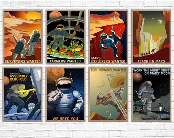 Mars Travel Posters Set of 8, Space Posters, nasa posters, mars print, planet mars, nasa mars poster, mars, space travel, space poster
