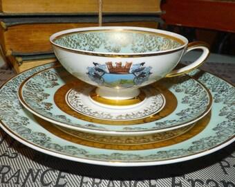 Mid-century (1950s) Plankenhammer Bavaria lavish gold & teal trio: footed tea cup, saucer, dessert plate.  Walchensee crest.