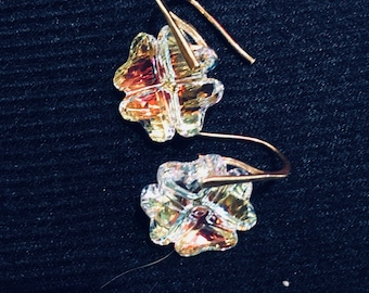 Swarovski Four leaf clover earrings with gold Vermeil earwires - for any day you need the luck of the Irish!