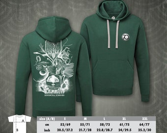 Human Time bottle green hooded sweater from the Seventea Studios I Art Collection. Octopus Tree Eye spiritual physics water bird nature city