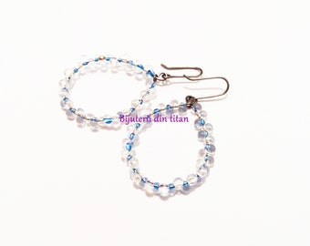 Grade 1 pure titanium earrings with Miyuki