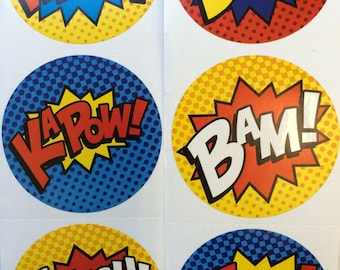 50 Super Hero Stickers Party Favors Envelope Seals FREE SHIPPING
