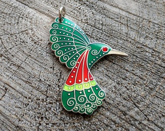Hummingbird Ornament, Hummingbird Gift, Metal Hummingbird, Enamel Hummingbird, Reversible Hanging Hummingbird Art, Ruby-throated,