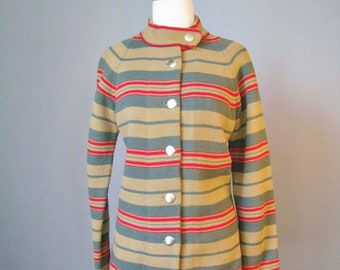 Cardigan / Vtg 60s / Tunic Length Olive, Red and Gray Striped Cardigan Jacket with gold buttons