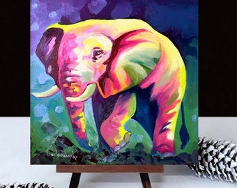 Colorful Elephant Original Oil Painting by Tetiana, Small painting