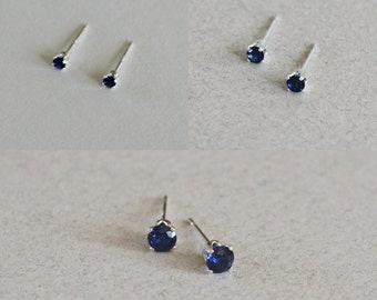 Sapphire Stud Earrings, Sapphire Studs, Small Studs, Small Stud Earrings, September Birthstone Studs, Blue Stud Earrings, Something Blue