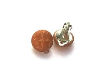 Tan Button Clip on Earrings, Woven Brown Button Stud, Clip-on Earrings, Caramel Basket-weave Earrings
