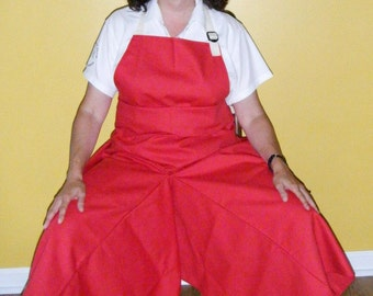 Pottery Apron Split Leg Panel Red Basic