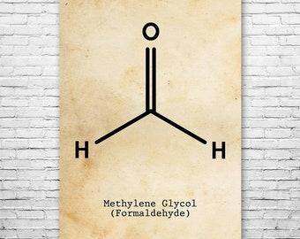 Formaldehyde Molecule Poster Science Art Print, Formaldehyde, Organic Chemistry, Photography, Film Developing, Embalming, Chemistry Art