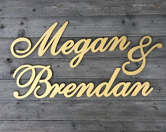 "Personalized Couples Name Sign - Version 2, ""Name1 & Name2"" 3 pieces, Custom Name Sign, Wedding Name Sign, Backdrop Sign"