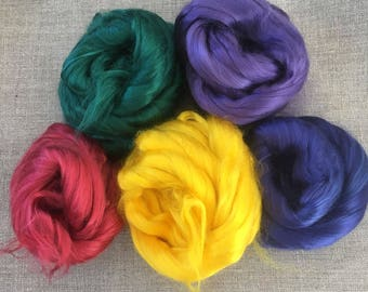 Dyed Bamboo Roving Starter Kit Vegan Fiber 100 gr Needlefelt Spinning Red Green Yellow Blue Purple Spin Flora plant fibre Free Shipping