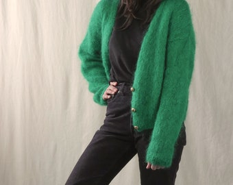 60s bright green fuzzy knit sweater / boxy cropped cardigan / gold buttons / deep v neck / fluffy wool sweater / small / medium / large