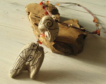 Driftwood Celtic Goose and Spirals Necklace, Irish linen and Carnelian Agate