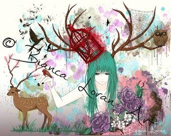 "Colours of Escape Art Print - 8""x10"" or 11x14"" - original anime manga girl art birdcage watercolor - Bianca Loran Art"