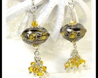 Green and yellow earrings, lampwork earrings, green earrings, crystal earrings, crystal cluster, yellow earrings, artisan lampwork beads