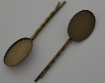 10 cabochon 18/25 Ref - antique bronze Bobby pins: BB 587