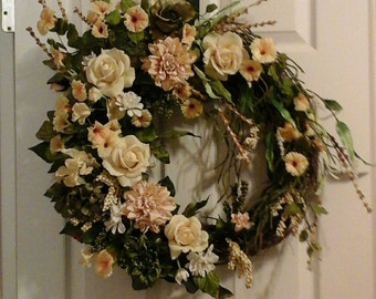 Spring Wreath, Valentines Wreath, SHIPPING INCLUDED, Elegant Designer Real Touch Rose Grapevine Wreath, Wall Arrangement, Silk Floral Wreath