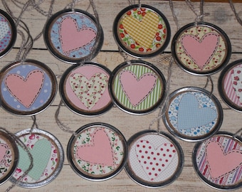 10 Assorted Valentine's February 14 LOVE Hearts 1 1/4 Inch Metal Rimmed Hang Tags - Tie Ons - Gift Tag - Scrapbooking - Ornies