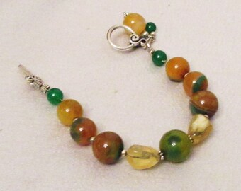 Garage...Yellow Green Onyx Agate Bracelet, Handmade, Opal Bracelet, Opal Gems, Yellow Opal, Natural Gems, Birthstone Gems, Gift for Her