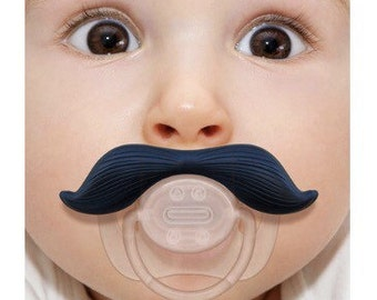 """Mustache Pacifier, Mustache Baby Pacifier, Cowboy, Black Mustache, available in two styles """"Ladies Man"""" black mustache or """"The Cowboy"""" brown"""
