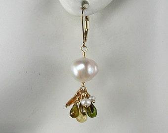 Lush Pearl and Tourmaline Earrings Dangle Earrings